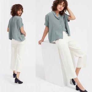 Everlane Short Sleeve Silk Button Down Shirt